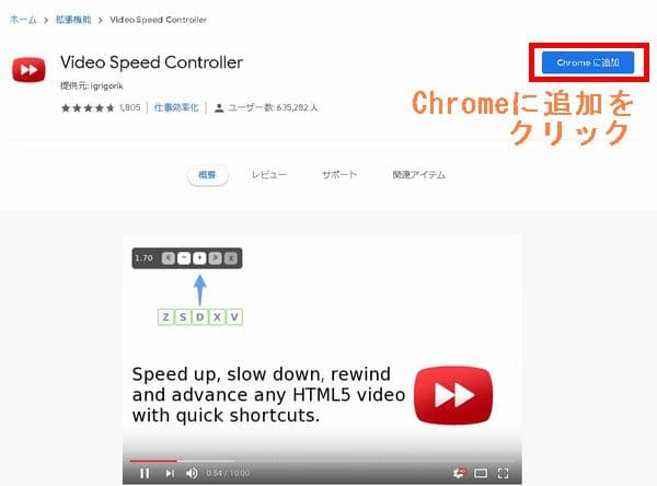 Chromeウェブストア拡張機能ページからVideo Speed Controllerを追加