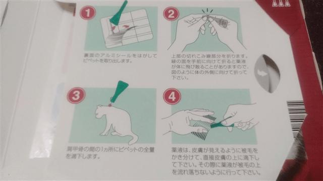フロントラインプラスの使い方 箱の裏の説明