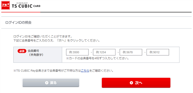 TS3CARD TS CUBIC CARDのフィッシング詐欺サイト カード情報入力画面