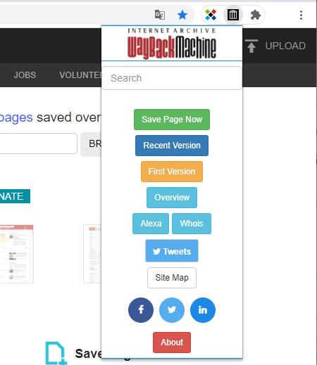 Wayback Machineの使い方 Chromeの拡張機能を追加してみた